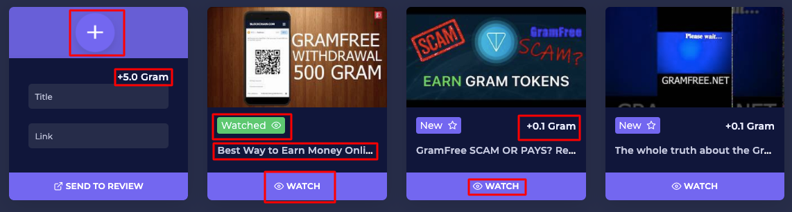 You can earn bonuses by watching and creating Gram Free Fifth Way video. You get a bonus of 5 grams for creating a video, and a 0.1 gram bonus for watching a video for 60 seconds.