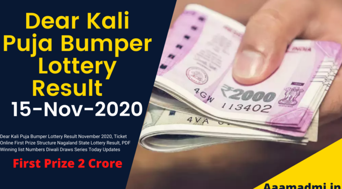 Dear Kali Puja Bumper Lottery Result November 2020, Ticket Online First Prize Structure Nagaland State Lottery Result, PDF Winning list Numbers Diwali Draws Series Today Updates